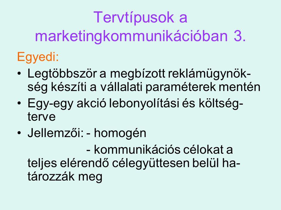 Tervtípusok a marketingkommunikációban 3. Egyedi: Legtöbbször a megbízott reklámügynök- ség készíti a vállalati paraméterek mentén Egy-egy akció lebon