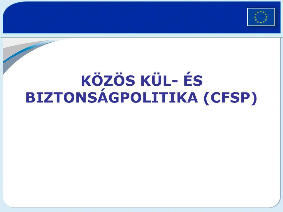 CFSP eszközei közös álláspont (EU elnökség nyilatkozat formájában hozza nyilvánosságra) közös akció (az Európai Tanács által elfogadott akció kötelező a tagállamokra állásfoglalásai és magatartása tekintetében) –pl.: embargók közös stratégia = közös tervezés Gyakorlatban nem nagyon működik, nincs sikeres eleme a 2000-es évekig (kivétel: Jugoszlávia elleni embargó)