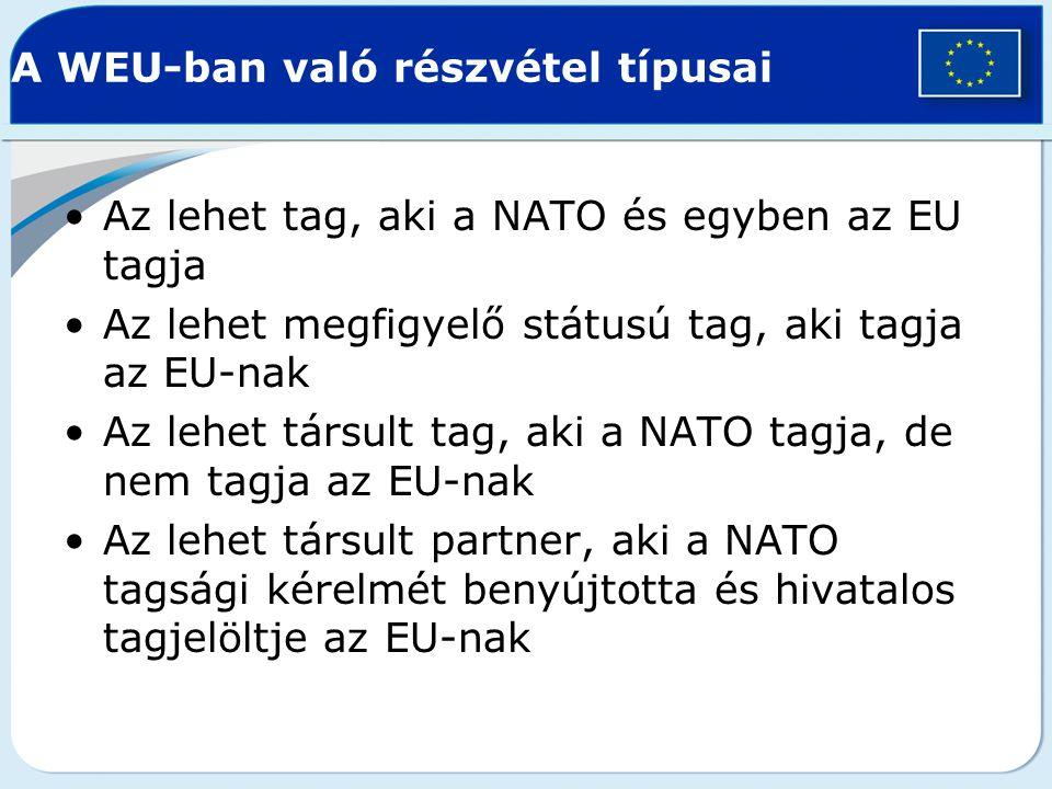 A WEU-ban való részvétel típusai Az lehet tag, aki a NATO és egyben az EU tagja Az lehet megfigyelő státusú tag, aki tagja az EU-nak Az lehet társult