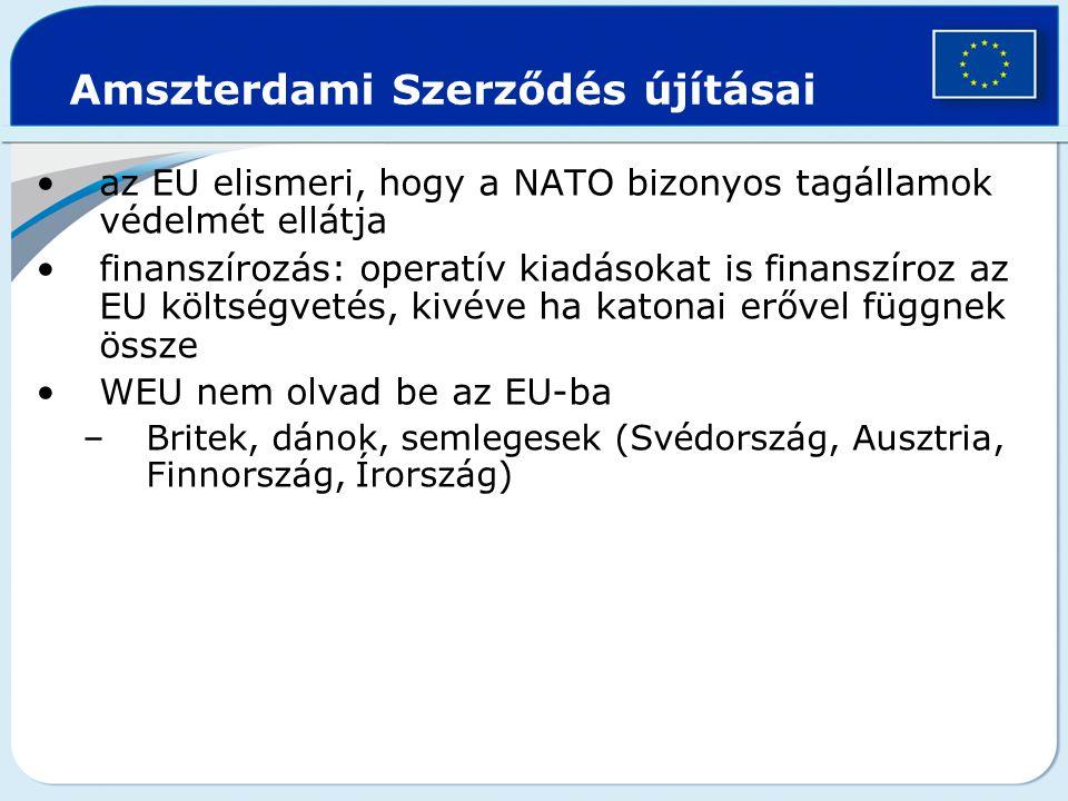 Amszterdami Szerződés újításai az EU elismeri, hogy a NATO bizonyos tagállamok védelmét ellátja finanszírozás: operatív kiadásokat is finanszíroz az E