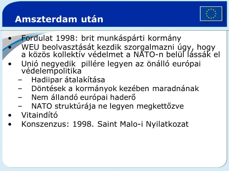 Amszterdam után Fordulat 1998: brit munkáspárti kormány WEU beolvasztását kezdik szorgalmazni úgy, hogy a közös kollektív védelmet a NATO-n belül láss