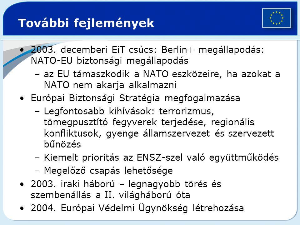 További fejlemények 2003. decemberi EiT csúcs: Berlin+ megállapodás: NATO-EU biztonsági megállapodás –az EU támaszkodik a NATO eszközeire, ha azokat a