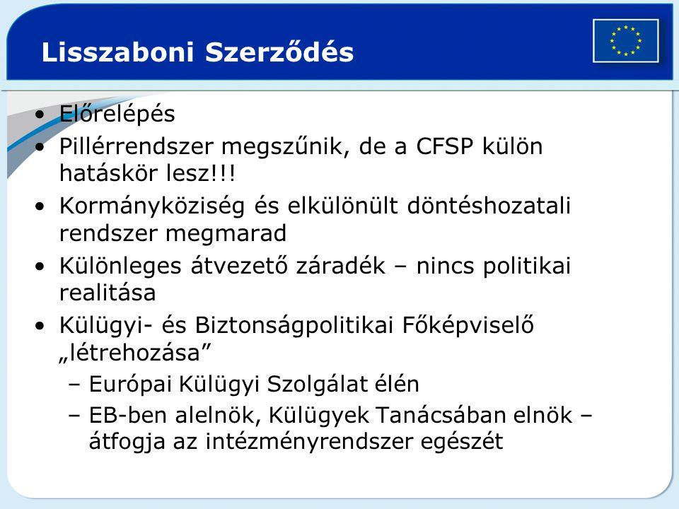 Lisszaboni Szerződés Előrelépés Pillérrendszer megszűnik, de a CFSP külön hatáskör lesz!!! Kormányköziség és elkülönült döntéshozatali rendszer megmar