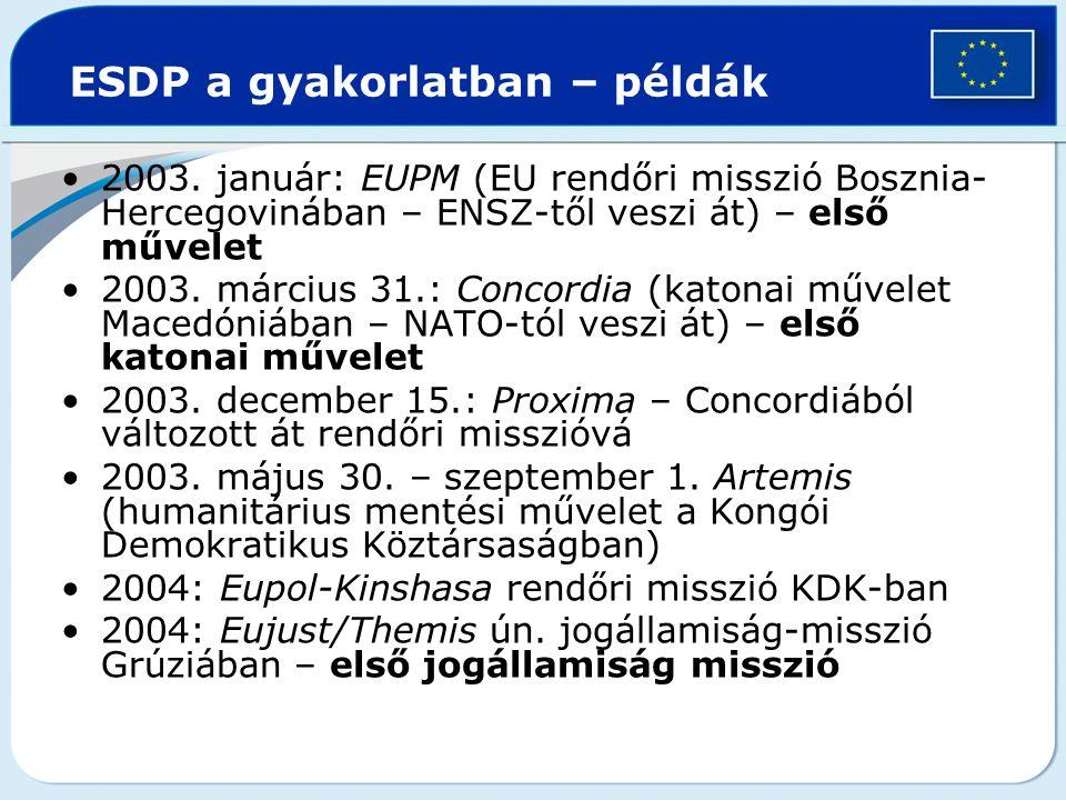 ESDP a gyakorlatban – példák 2003. január: EUPM (EU rendőri misszió Bosznia- Hercegovinában – ENSZ-től veszi át) – első művelet 2003. március 31.: Con