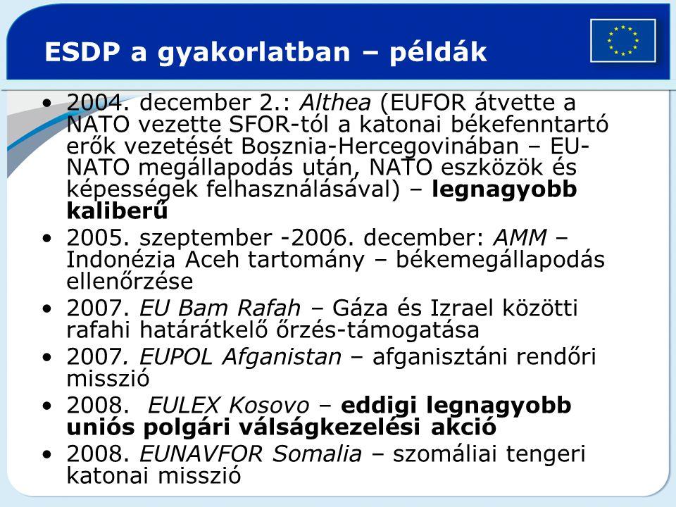 ESDP a gyakorlatban – példák 2004. december 2.: Althea (EUFOR átvette a NATO vezette SFOR-tól a katonai békefenntartó erők vezetését Bosznia-Hercegovi