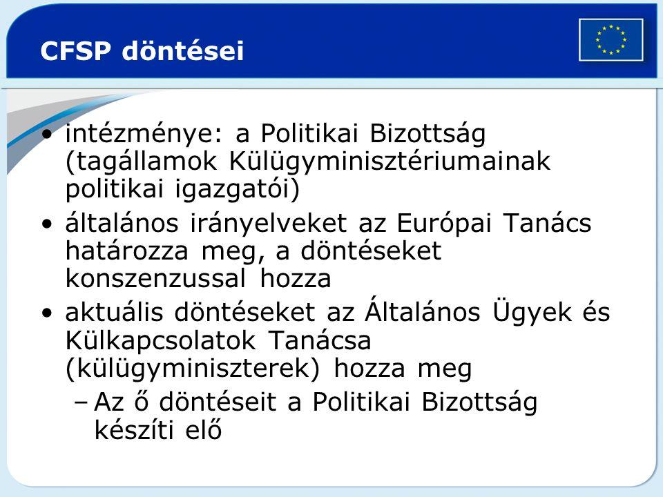 CFSP döntései intézménye: a Politikai Bizottság (tagállamok Külügyminisztériumainak politikai igazgatói) általános irányelveket az Európai Tanács hatá