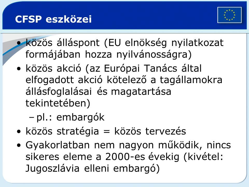 CFSP eszközei közös álláspont (EU elnökség nyilatkozat formájában hozza nyilvánosságra) közös akció (az Európai Tanács által elfogadott akció kötelező