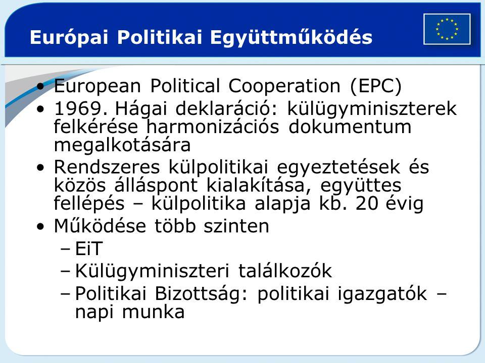 Európai Politikai Együttműködés European Political Cooperation (EPC) 1969. Hágai deklaráció: külügyminiszterek felkérése harmonizációs dokumentum mega