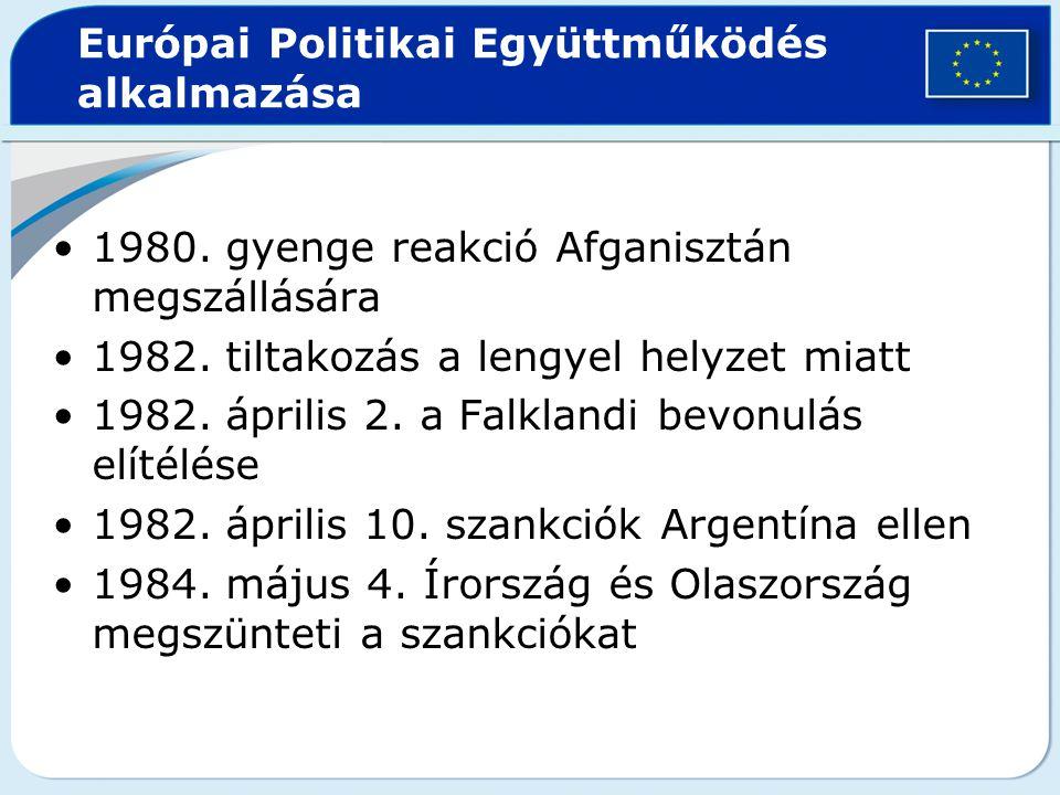 Európai Politikai Együttműködés alkalmazása 1980. gyenge reakció Afganisztán megszállására 1982. tiltakozás a lengyel helyzet miatt 1982. április 2. a