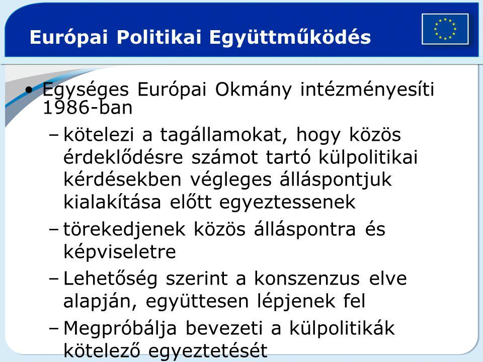 Európai Politikai Együttműködés Egységes Európai Okmány intézményesíti 1986-ban –kötelezi a tagállamokat, hogy közös érdeklődésre számot tartó külpoli
