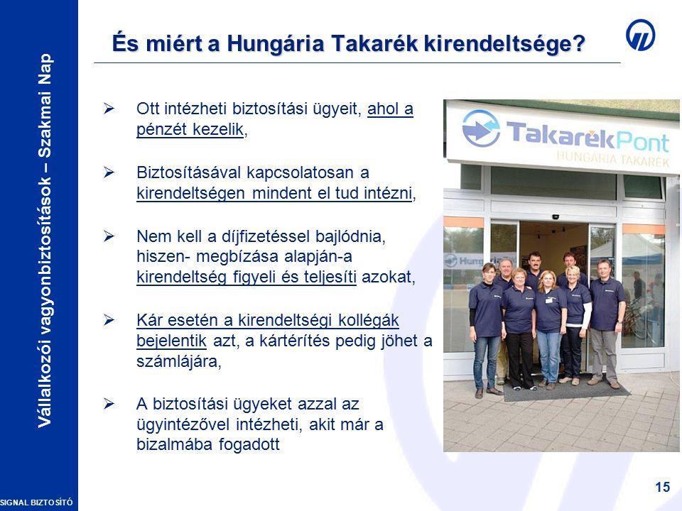 SIGNAL BIZTOSÍTÓ Vállalkozói vagyonbiztosítások – Szakmai Nap 15 És miért a Hungária Takarék kirendeltsége.