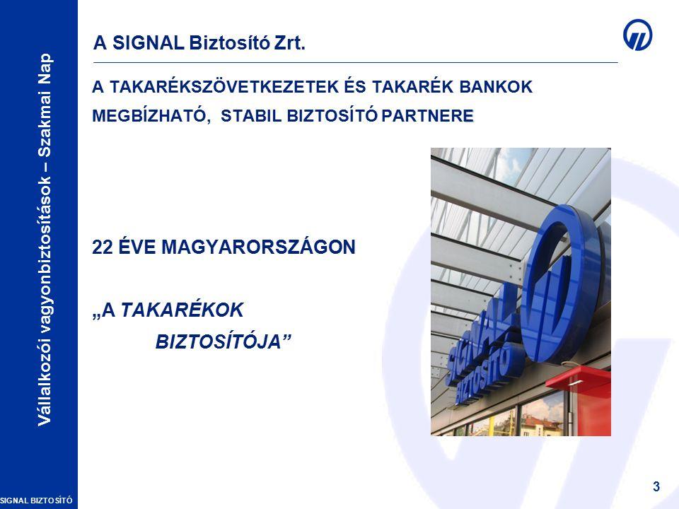 SIGNAL BIZTOSÍTÓ Vállalkozói vagyonbiztosítások – Szakmai Nap 3 A SIGNAL Biztosító Zrt.