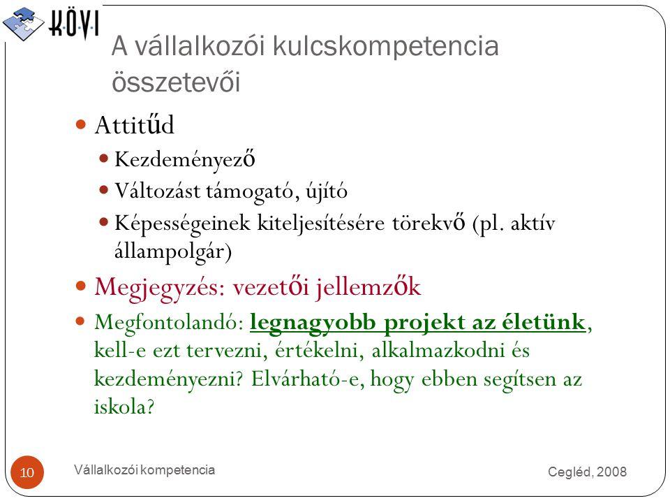 A vállalkozói kulcskompetencia összetevői Cegléd, 2008 Vállalkozói kompetencia 10 Attit ű d Kezdeményez ő Változást támogató, újító Képességeinek kiteljesítésére törekv ő (pl.