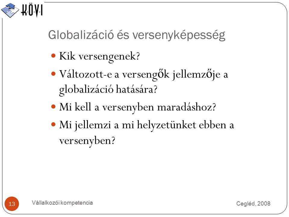 Globalizáció és versenyképesség Cegléd, 2008 Vállalkozói kompetencia 13 Kik versengenek.