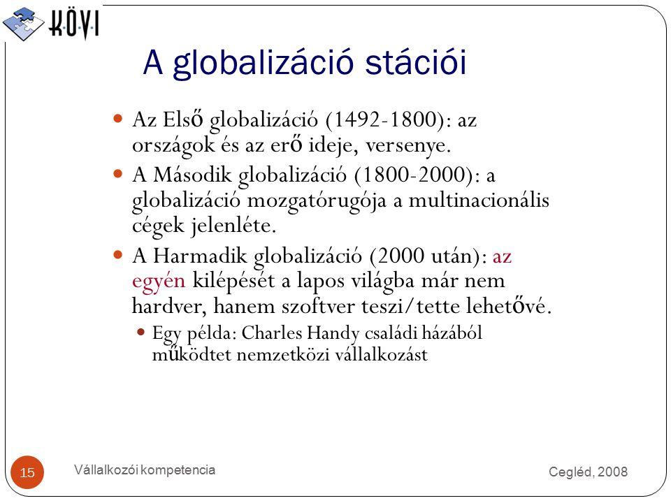Cegléd, 2008 Vállalkozói kompetencia 15 A globalizáció stációi Az Els ő globalizáció (1492-1800): az országok és az er ő ideje, versenye.