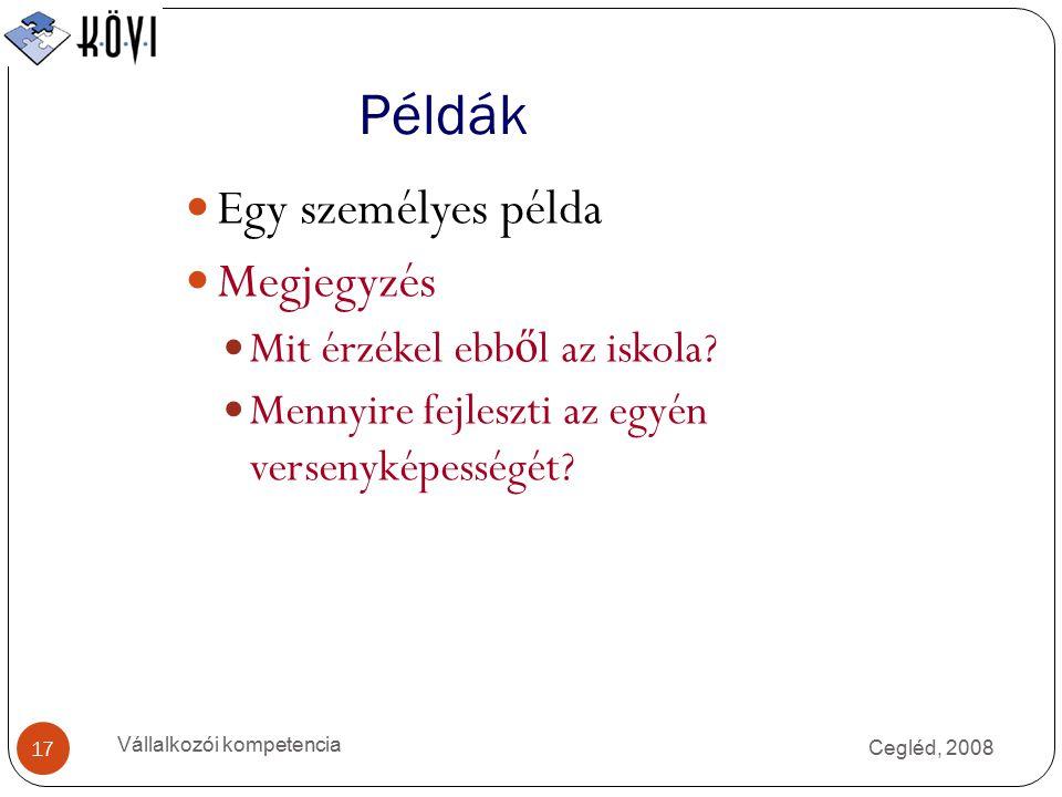 Példák Cegléd, 2008 Vállalkozói kompetencia 17 Egy személyes példa Megjegyzés Mit érzékel ebb ő l az iskola.