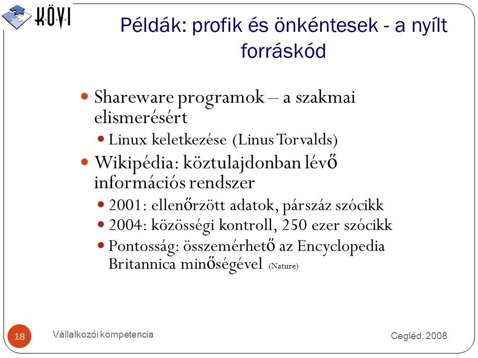 Cegléd, 2008 Vállalkozói kompetencia 18 Példák: profik és önkéntesek - a nyílt forráskód Shareware programok – a szakmai elismerésért Linux keletkezése (Linus Torvalds) Wikipédia: köztulajdonban lév ő információs rendszer 2001: ellen ő rzött adatok, párszáz szócikk 2004: közösségi kontroll, 250 ezer szócikk Pontosság: összemérhet ő az Encyclopedia Britannica min ő ségével (Nature)