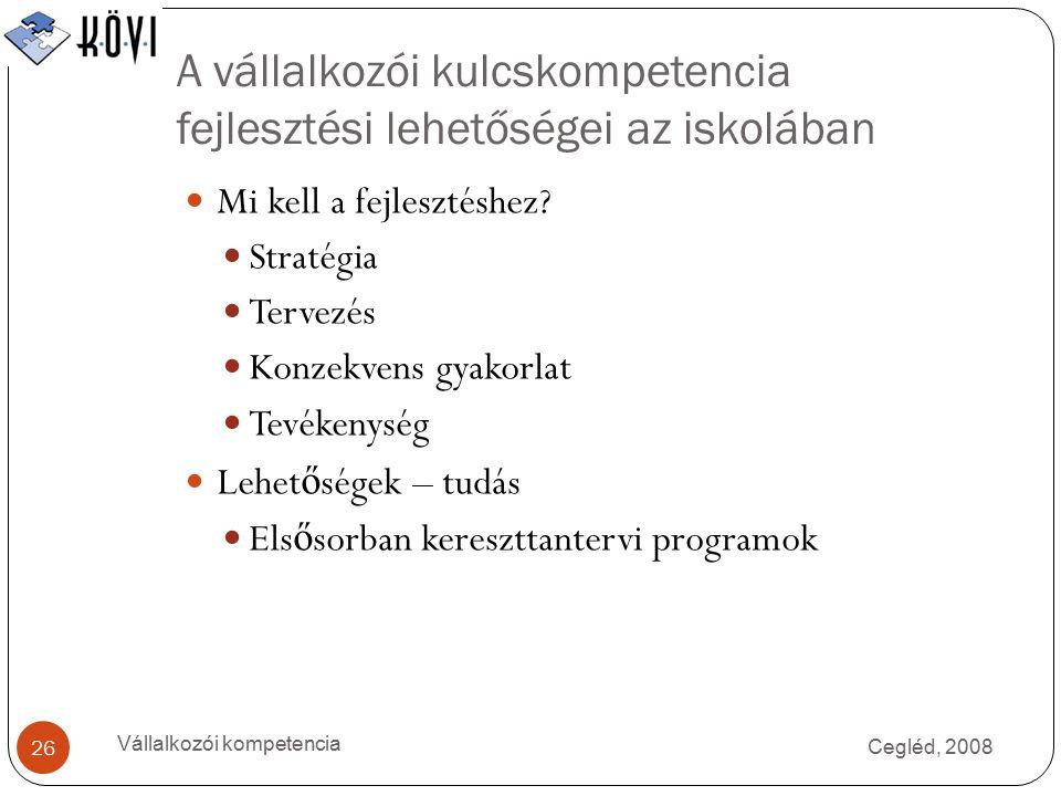 A vállalkozói kulcskompetencia fejlesztési lehetőségei az iskolában Cegléd, 2008 Vállalkozói kompetencia 26 Mi kell a fejlesztéshez.