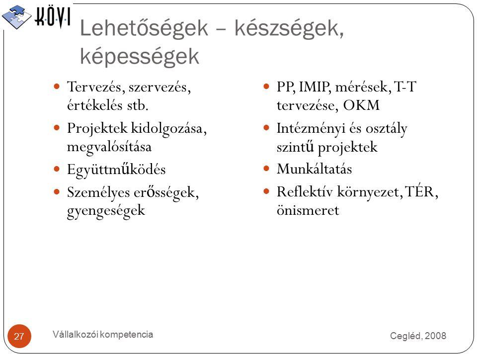 Lehetőségek – készségek, képességek Cegléd, 2008 Vállalkozói kompetencia 27 Tervezés, szervezés, értékelés stb.