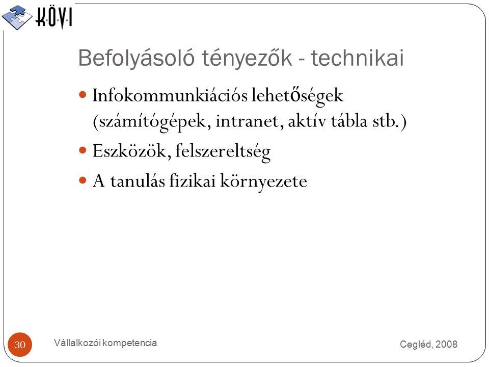 Befolyásoló tényezők - technikai Cegléd, 2008 Vállalkozói kompetencia 30 Infokommunkiációs lehet ő ségek (számítógépek, intranet, aktív tábla stb.) Eszközök, felszereltség A tanulás fizikai környezete