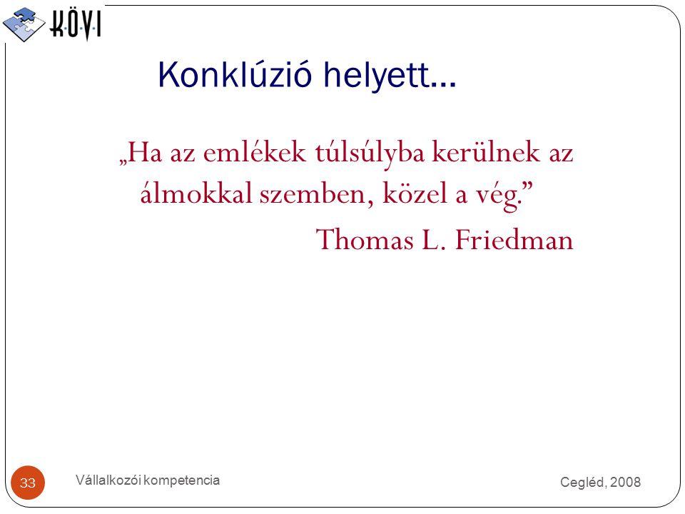 """Cegléd, 2008 Vállalkozói kompetencia 33 Konklúzió helyett… """" Ha az emlékek túlsúlyba kerülnek az álmokkal szemben, közel a vég. Thomas L."""