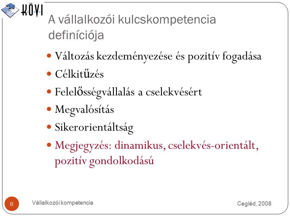 A vállalkozói kulcskompetencia definíciója Cegléd, 2008 Vállalkozói kompetencia 8 Változás kezdeményezése és pozitív fogadása Célkit ű zés Felel ő sségvállalás a cselekvésért Megvalósítás Sikerorientáltság Megjegyzés: dinamikus, cselekvés-orientált, pozitív gondolkodású