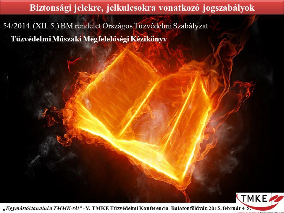 """""""Egymástól tanulni a TMMK-ról"""" - V. TMKE Tűzvédelmi Konferencia Balatonföldvár, 2015. február 4-5. Biztonsági jelekre, jelkulcsokra vonatkozó jogszabá"""