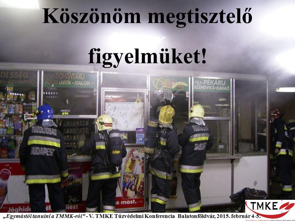 """Köszönöm megtisztelő figyelmüket! """"Egymástól tanulni a TMMK-ról"""" - V. TMKE Tűzvédelmi Konferencia Balatonföldvár, 2015. február 4-5."""