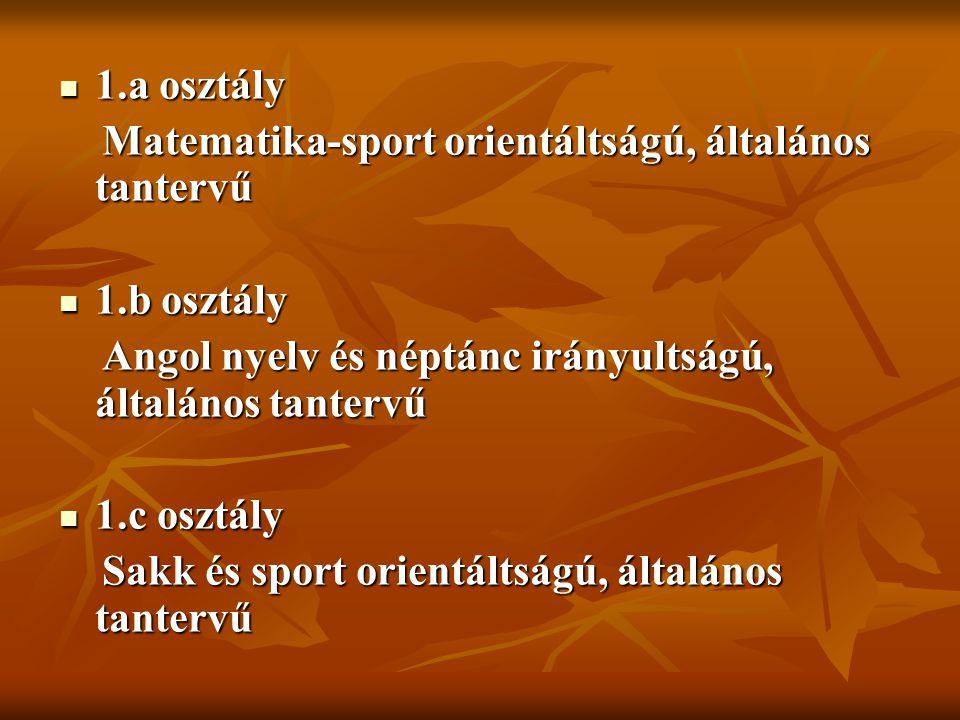 1.a osztály 1.a osztály Matematika-sport orientáltságú, általános tantervű Matematika-sport orientáltságú, általános tantervű 1.b osztály 1.b osztály