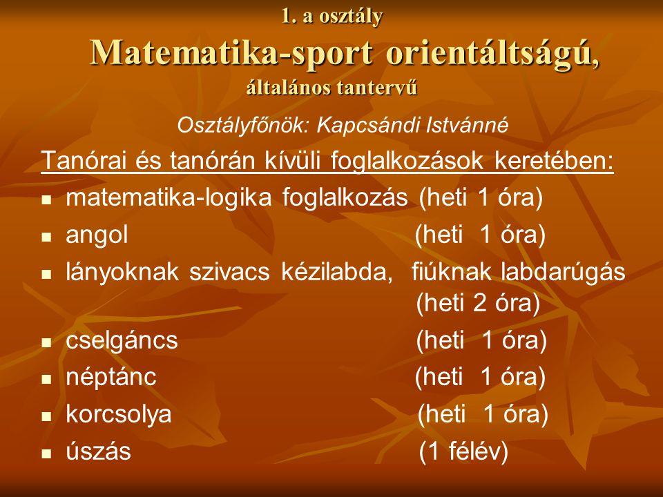 1. a osztály Matematika-sport orientáltságú, általános tantervű Osztályfőnök: Kapcsándi Istvánné Tanórai és tanórán kívüli foglalkozások keretében: ma