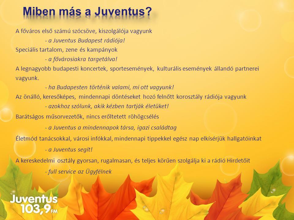 A főváros első számú szócsöve, kiszolgálója vagyunk - a Juventus Budapest rádiója! Speciális tartalom, zene és kampányok - a fővárosiakra targetálva!