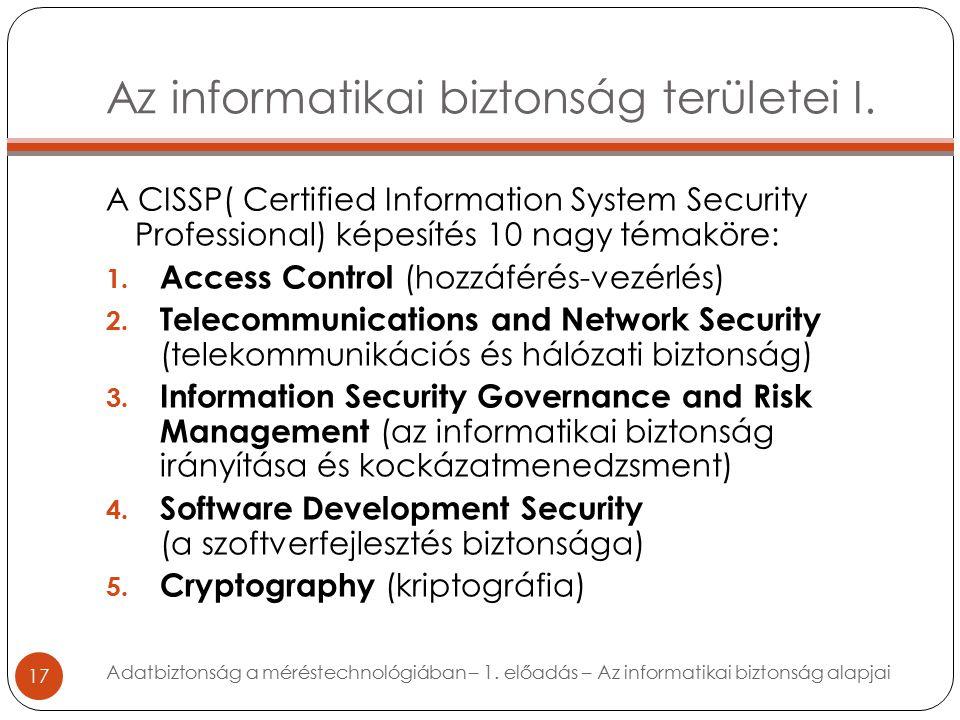 Az informatikai biztonság területei I.