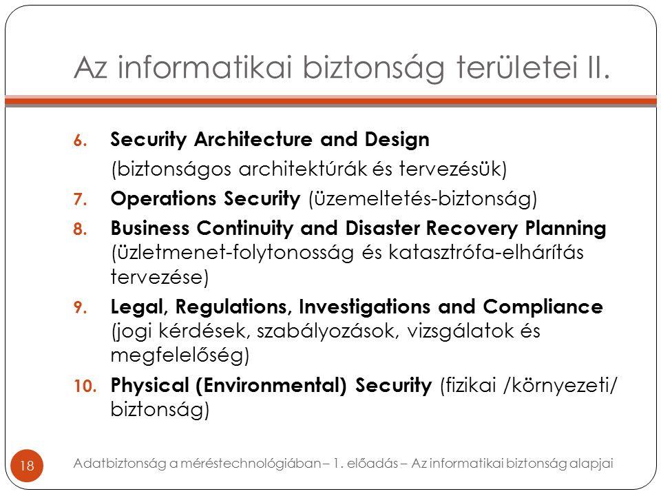 Az informatikai biztonság területei II. 18 6.