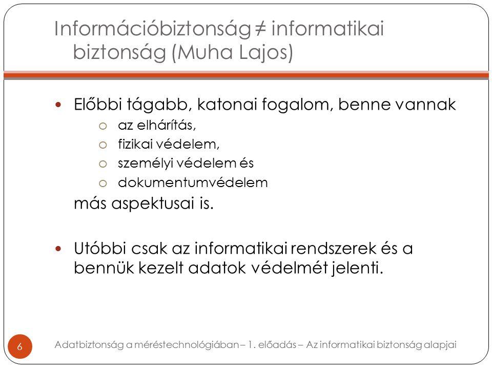 Információbiztonság ≠ informatikai biztonság (Muha Lajos) 6 Előbbi tágabb, katonai fogalom, benne vannak oaz elhárítás, ofizikai védelem, oszemélyi védelem és odokumentumvédelem más aspektusai is.