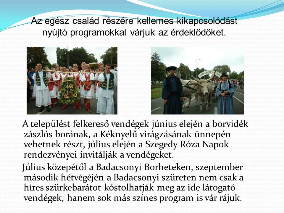 A települést felkereső vendégek június elején a borvidék zászlós borának, a Kéknyelű virágzásának ünnepén vehetnek részt, július elején a Szegedy Róza