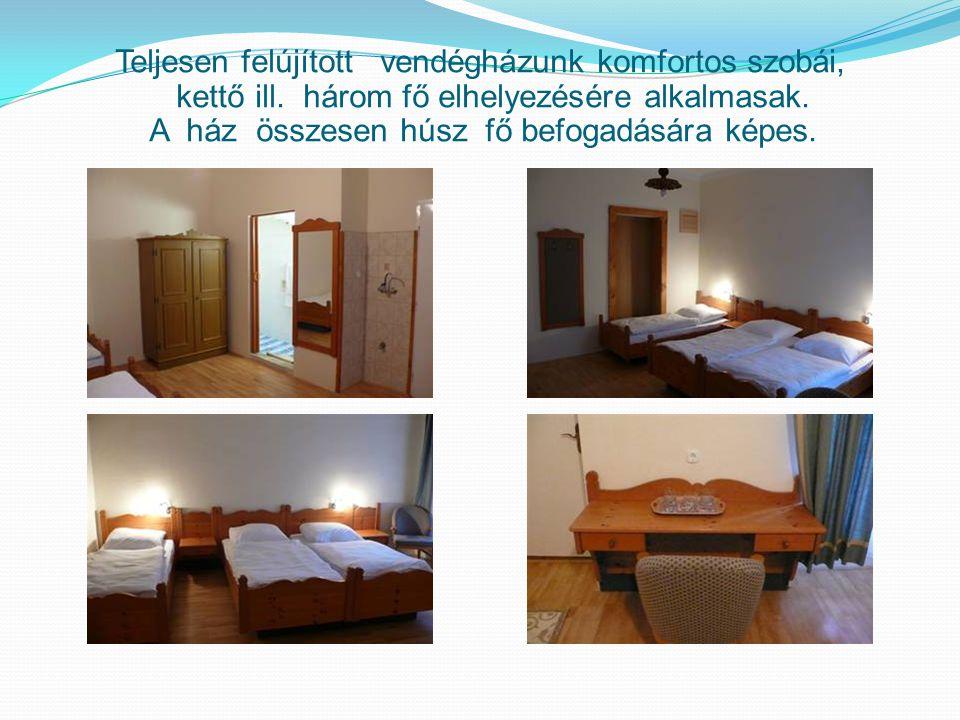 Teljesen felújított vendégházunk komfortos szobái, kettő ill. három fő elhelyezésére alkalmasak. A ház összesen húsz fő befogadására képes.