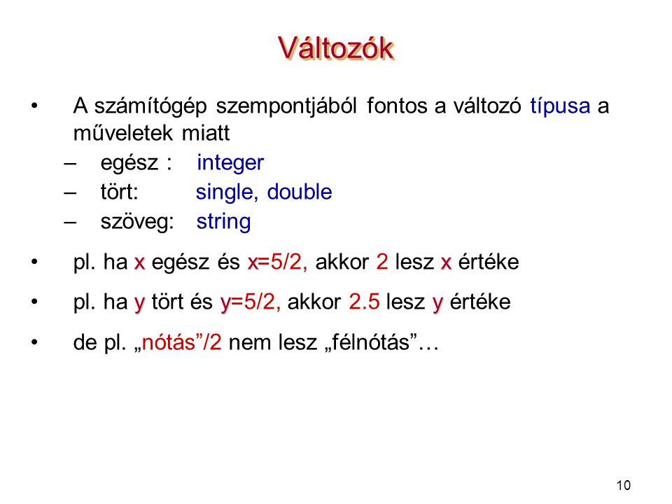 10 A számítógép szempontjából fontos a változó típusa a műveletek miatt –egész : integer –tört: single, double –szöveg: string xxxpl. ha x egész és x=