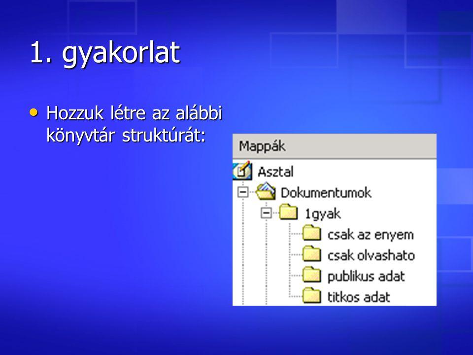 1. gyakorlat Hozzuk létre az alábbi könyvtár struktúrát: Hozzuk létre az alábbi könyvtár struktúrát: