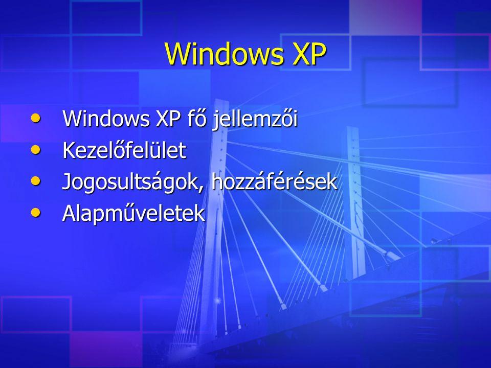 Windows XP fő jellemzői Windows XP fő jellemzői Kezelőfelület Kezelőfelület Jogosultságok, hozzáférések Jogosultságok, hozzáférések Alapműveletek Alapműveletek