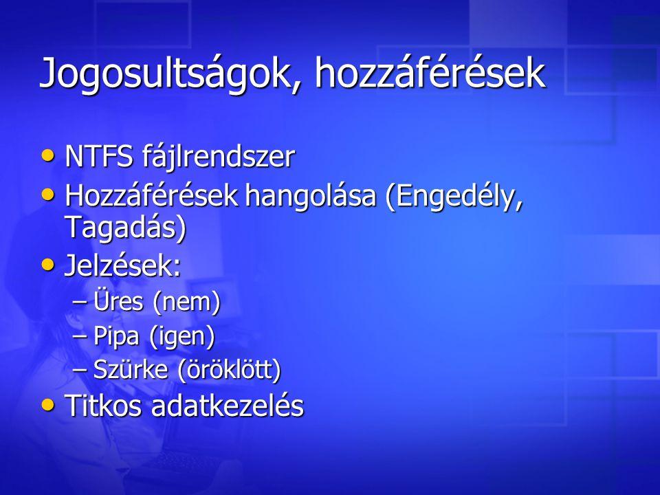 Jogosultságok, hozzáférések NTFS fájlrendszer Hozzáférések hangolása (Engedély, Tagadás) Jelzések: –Ü–Ü–Ü–Üres (nem) –P–P–P–Pipa (igen) –S–S–S–Szürke (öröklött) Titkos adatkezelés