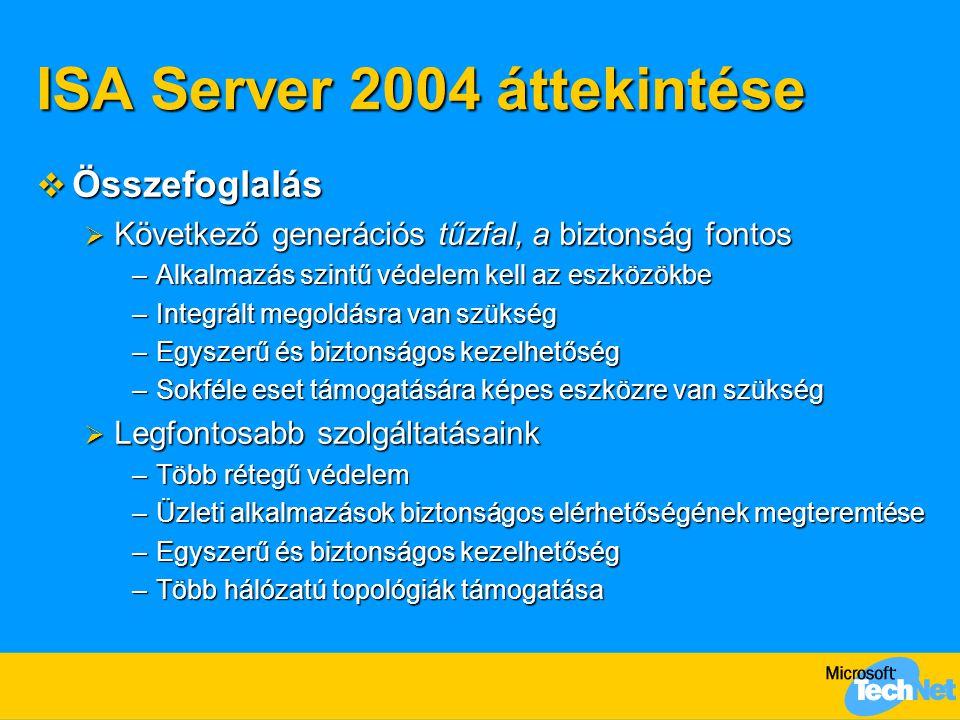 ISA Server 2004 áttekintése  Összefoglalás  Következő generációs tűzfal, a biztonság fontos –Alkalmazás szintű védelem kell az eszközökbe –Integrált