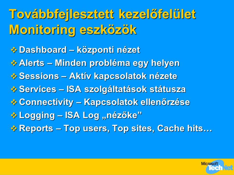 Továbbfejlesztett kezelőfelület Monitoring eszközök  Dashboard – központi nézet  Alerts – Minden probléma egy helyen  Sessions – Aktív kapcsolatok