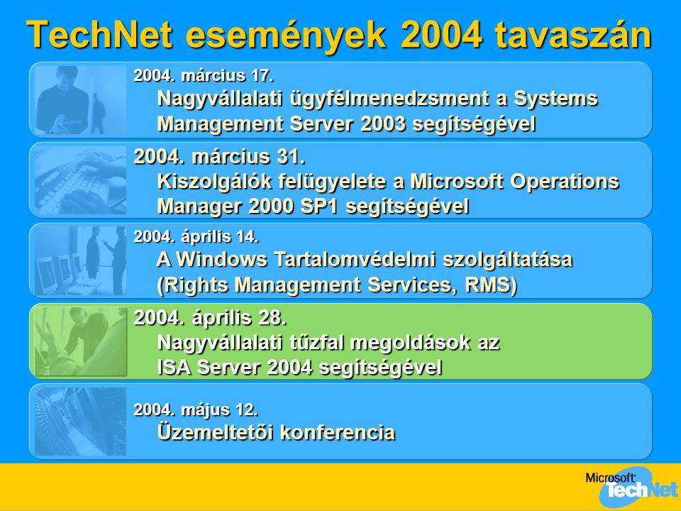 TechNet események 2004 tavaszán 2004. március 31. Kiszolgálók felügyelete a Microsoft Operations Manager 2000 SP1 segítségével Kiszolgálók felügyelete