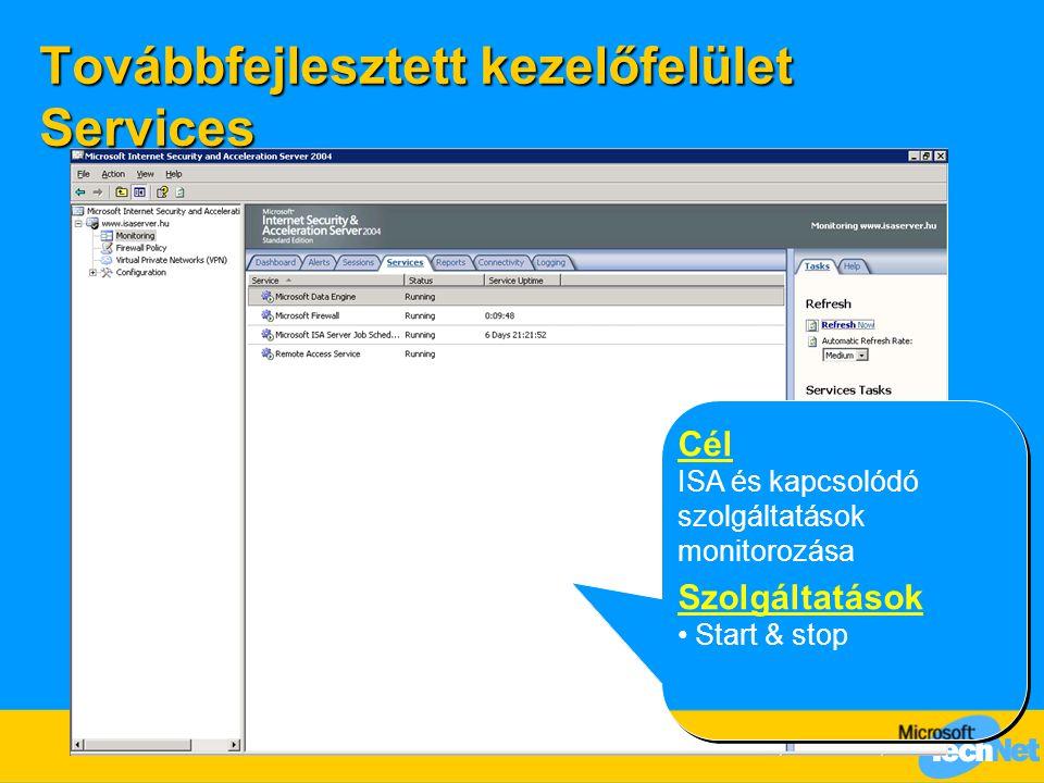 Továbbfejlesztett kezelőfelület Services Cél ISA és kapcsolódó szolgáltatások monitorozása Szolgáltatások Start & stop Cél ISA és kapcsolódó szolgálta