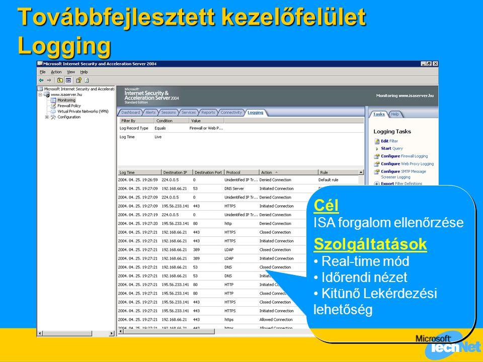 Továbbfejlesztett kezelőfelület Logging Cél ISA forgalom ellenőrzése Szolgáltatások Real-time mód Időrendi nézet Kitünő Lekérdezési lehetőség Cél ISA
