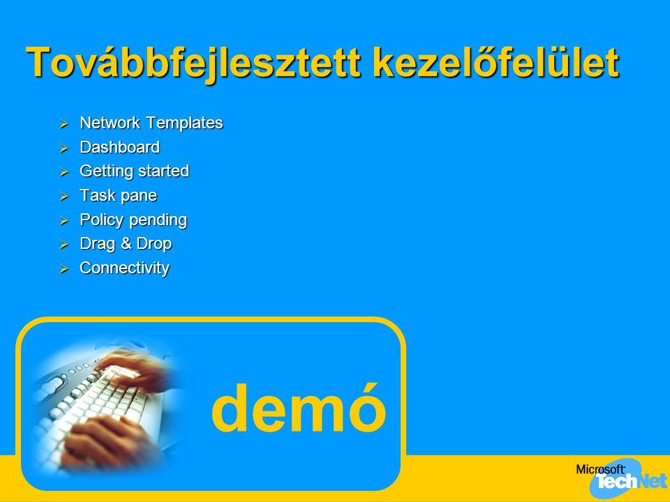 Továbbfejlesztett kezelőfelület  Network Templates  Dashboard  Getting started  Task pane  Policy pending  Drag & Drop  Connectivity demó