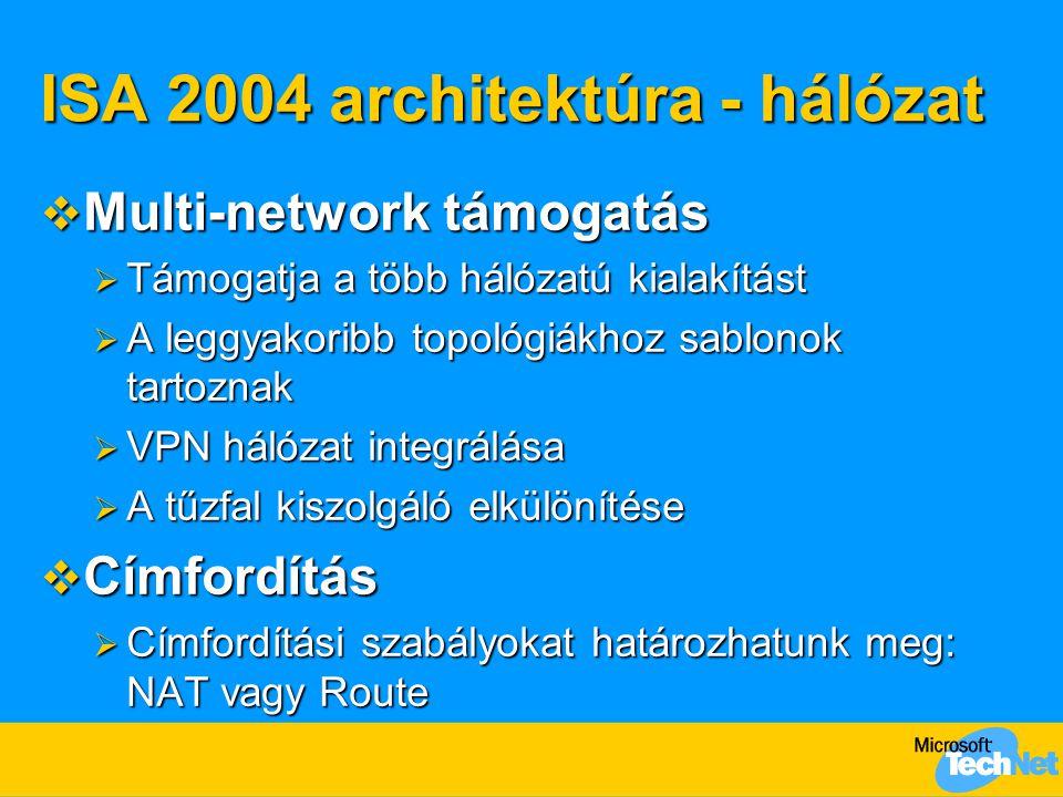 ISA 2004 architektúra - hálózat  Multi-network támogatás  Támogatja a több hálózatú kialakítást  A leggyakoribb topológiákhoz sablonok tartoznak 