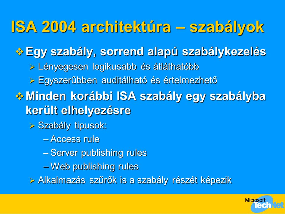 ISA 2004 architektúra – szabályok  Alap ISA 2000 szabályok:  Protocol rules  Site and Content rules  Static packet filters  Publishing rules  Web publishing rules  Filtering configuration  Egyéb ISA 2000 szabályok:  Address translation rules  Web routing rules  Cache rules Firewall policy Configuration policy