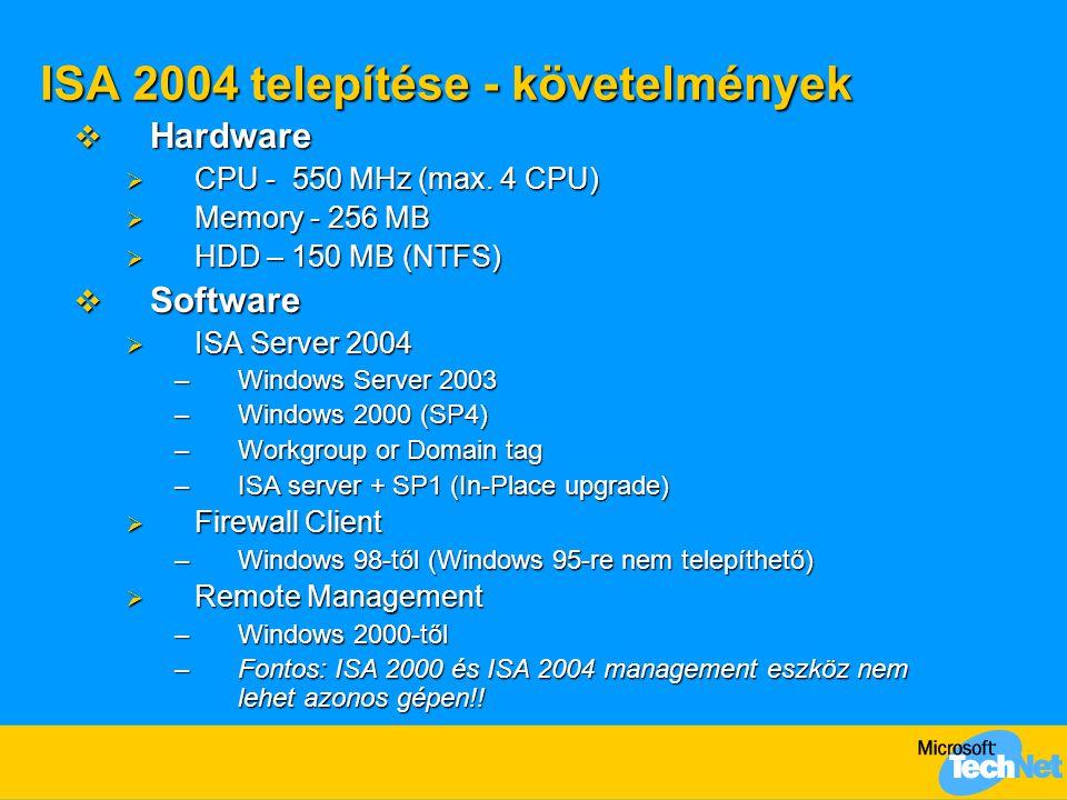 ISA 2004 telepítése - követelmények  Hardware  CPU - 550 MHz (max. 4 CPU)  Memory - 256 MB  HDD – 150 MB (NTFS)  Software  ISA Server 2004 –Wind