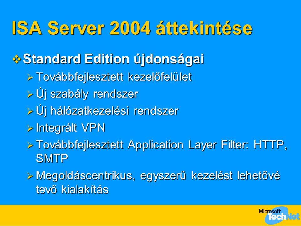 ISA Server 2004 áttekintése  Standard Edition újdonságai  Továbbfejlesztett kezelőfelület  Új szabály rendszer  Új hálózatkezelési rendszer  Inte